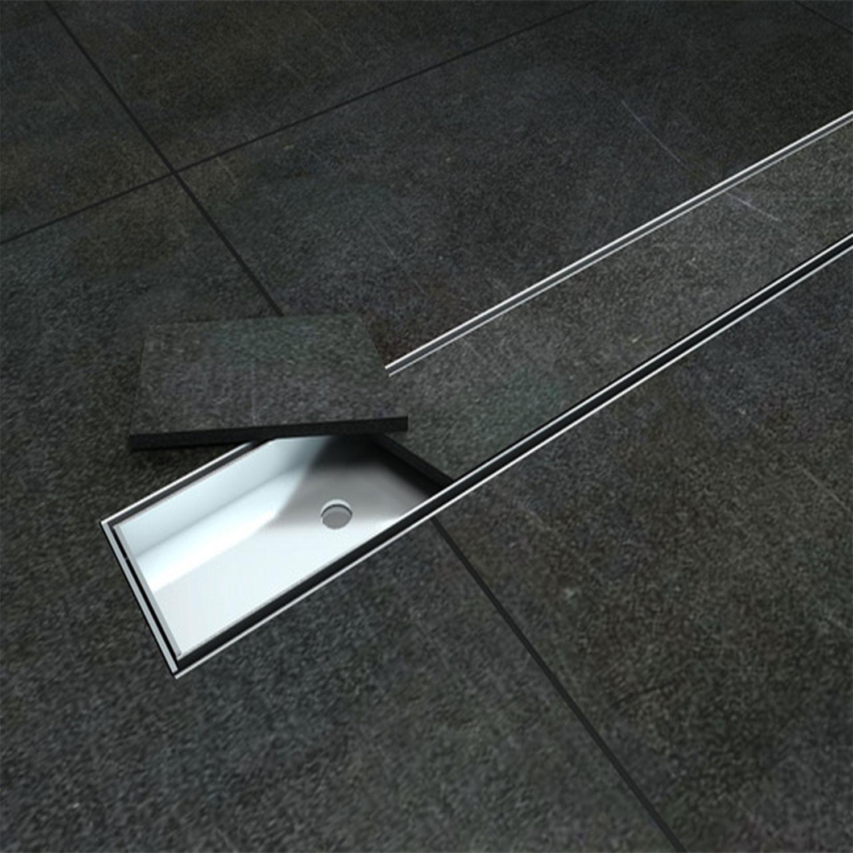 Canalina di scarico doccia acciaio inox canale griglia drenaggio piastrellabile ebay - Piatto doccia triangolare ...