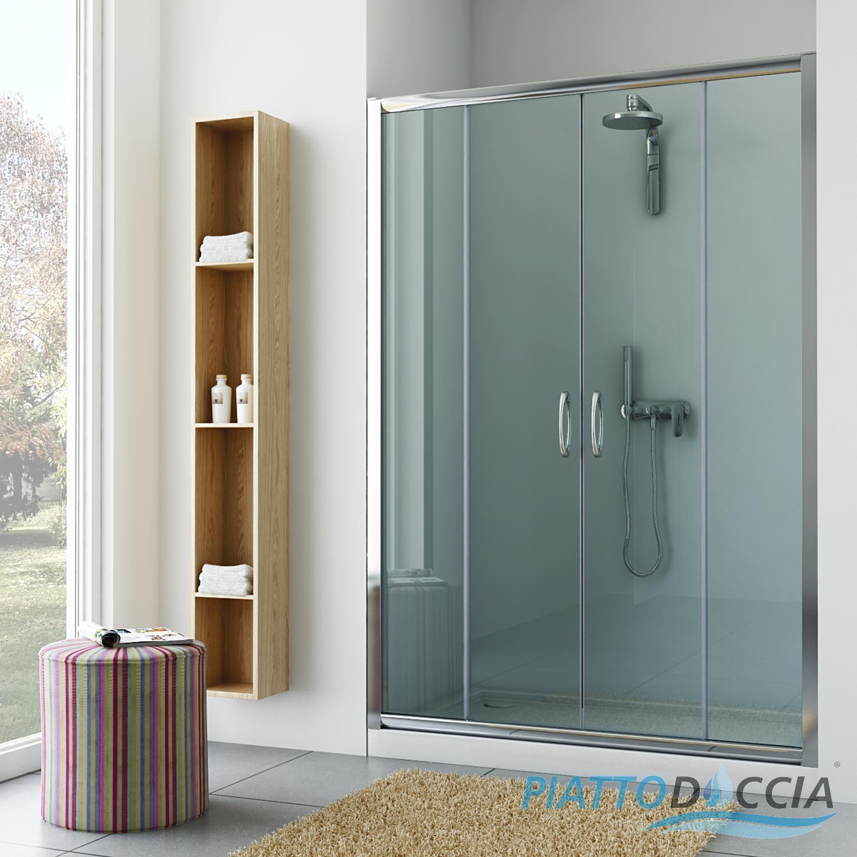 Box cabina doccia nicchia parete porta bagno cristallo - Porta in cristallo scorrevole ...