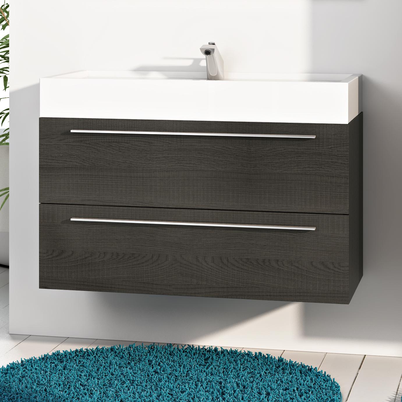 Base mobile da bagno sospeso arredo moderno design legno lavabo 4 colori 90 cm - Base mobile bagno ...