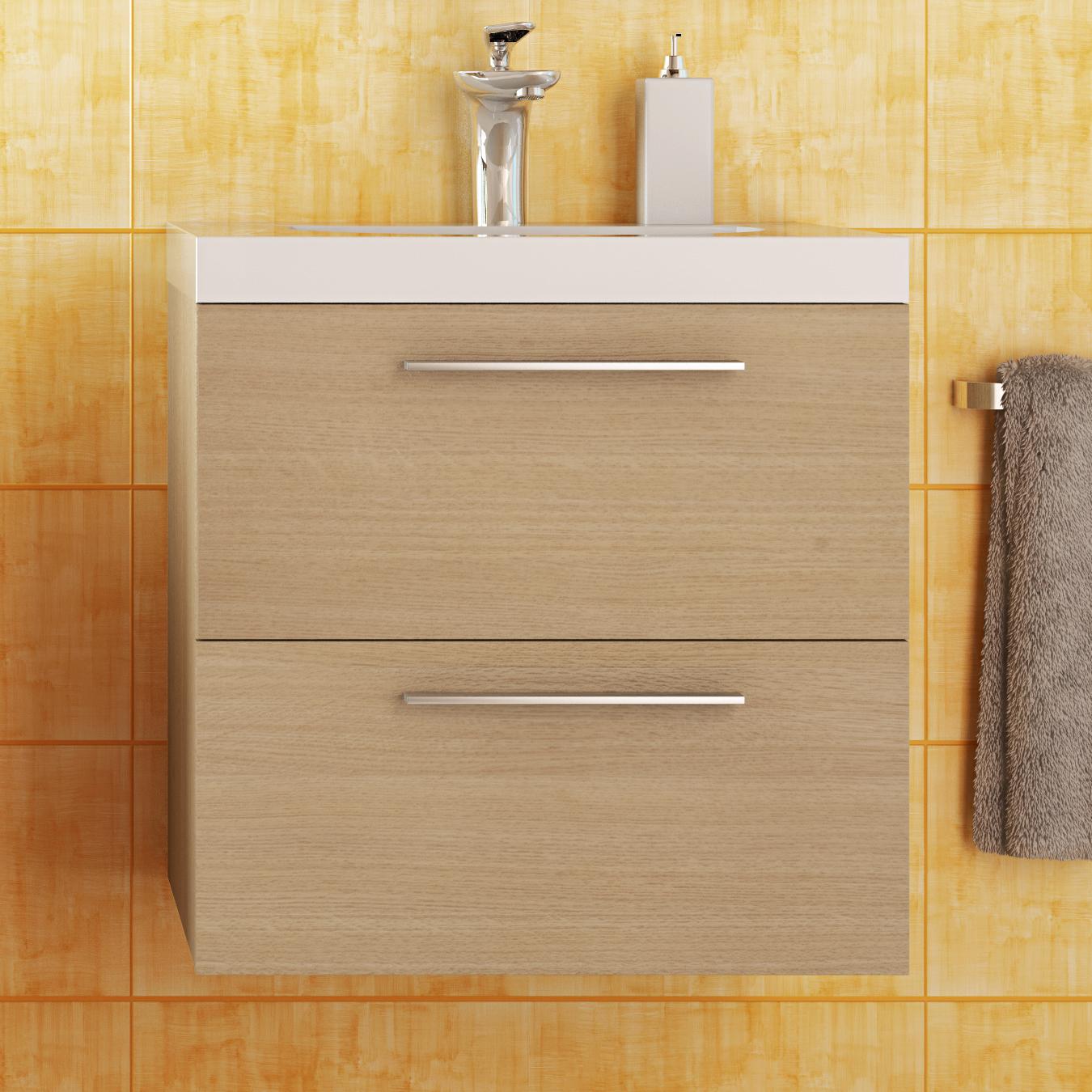 Base mobile da bagno sospeso arredo moderno design legno lavabo 4 colori 53 cm - Base mobile bagno ...