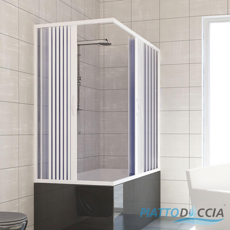 Box doccia cabina angolare sopra vasca a soffietto in pvc 14 colori su misura ebay - Cabine doccia a soffietto ...